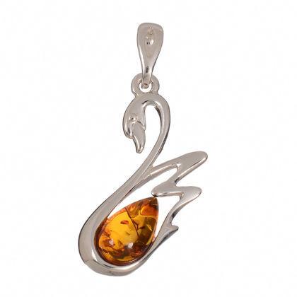 "Baltic Amber Pendant ""Swan"""