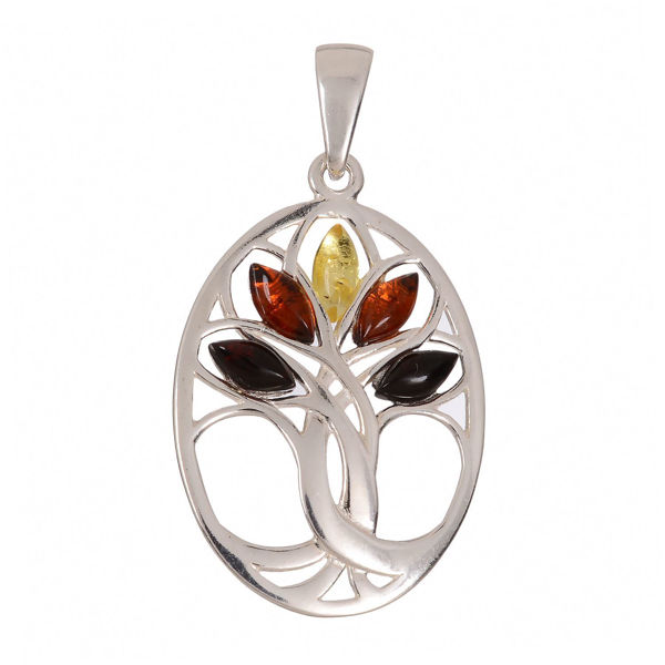 "Baltic Multi Colored Amber Pendant ""Tree Of Life"""