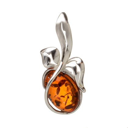 """Sterling Silver and Baltic Honey Amber Pendant """"Berry"""""""