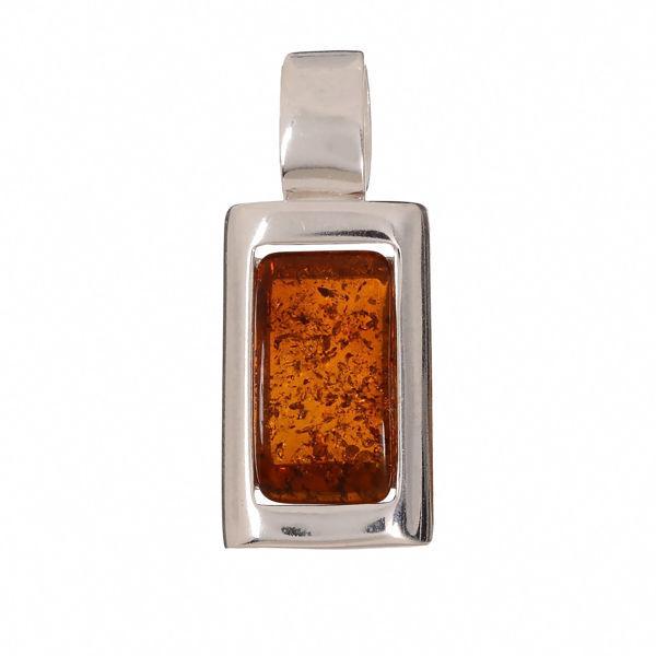 "Baltic Honey Rectangle Amber Pendant ""Linden"""
