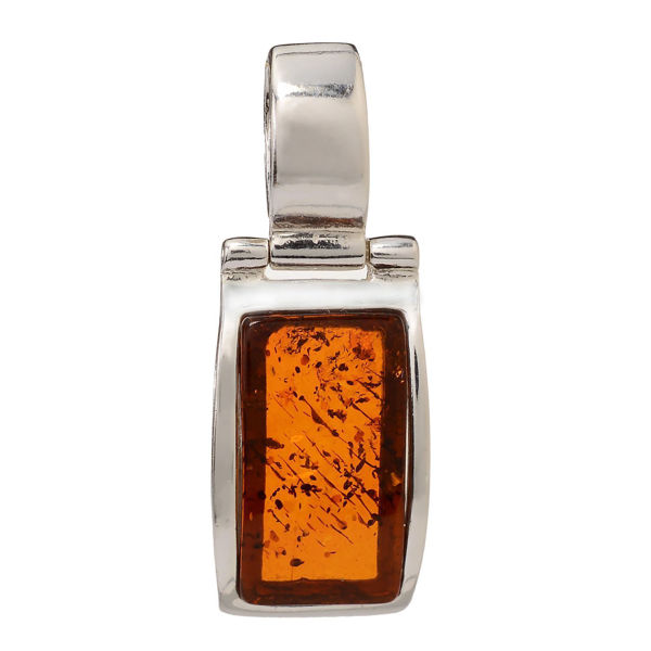 "Baltic Honey Rectangle Amber Pendant ""Brook"""