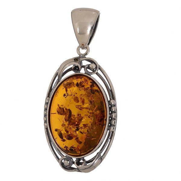 "Baltic Honey Amber Pendant ""Evening"""