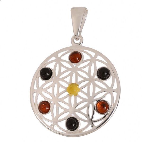 """Baltic Multi Colored Amber Pendant """"Gale"""""""