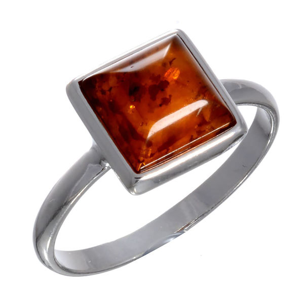 Baltic Honey  Amber Small Square Ring