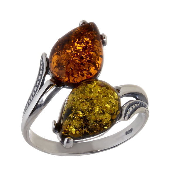 "Baltic Multicolored Amber Ring ""Tulips"""
