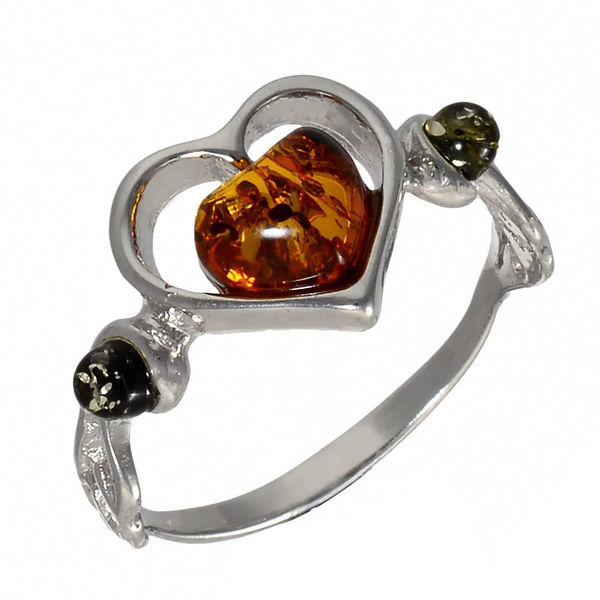"Baltic Green and Honey Amber Ring ""Loving Heart"""