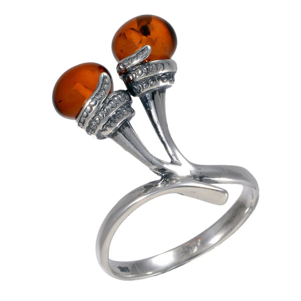 "Baltic Honey Amber Ring ""Droplets"""