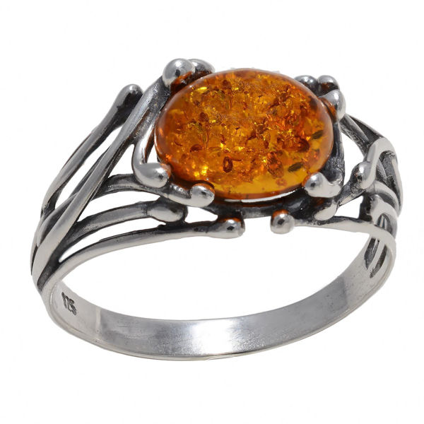 "Baltic Honey Amber Ring ""Willow"""