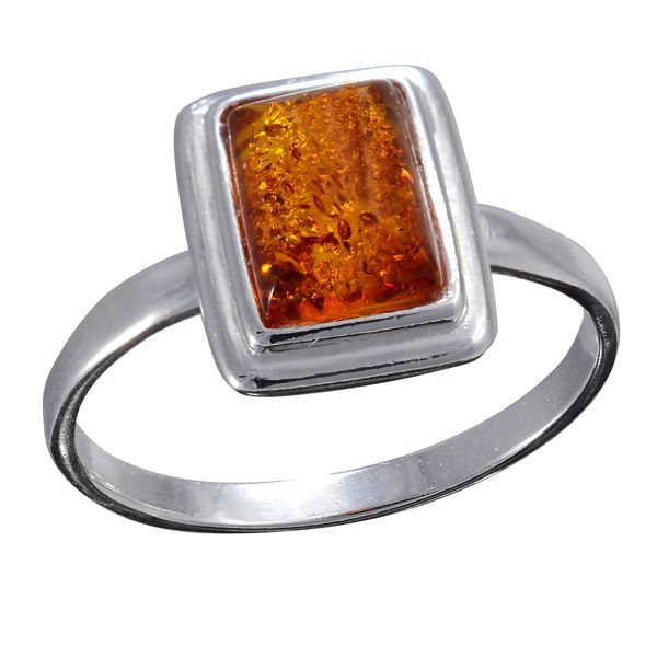 Baltic Honey Small Rectangle Amber Ring