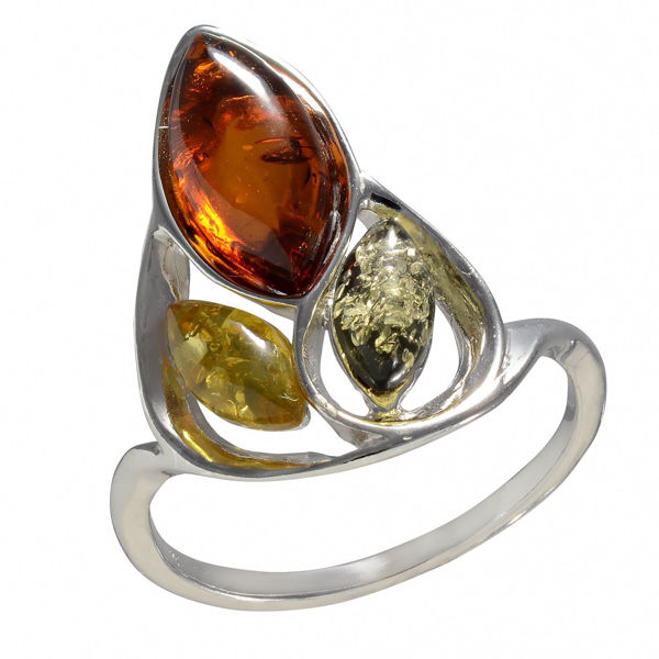 """Baltic MultiColored Amber Ring """"April"""""""