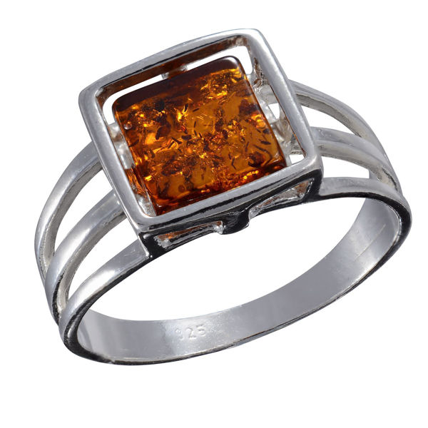 Baltic Honey  Amber Flat Square Ring