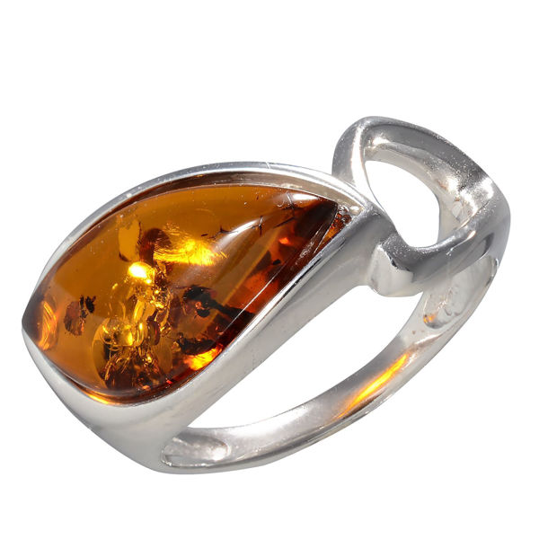 Rhodium Plated Baltic Honey Amber Ring