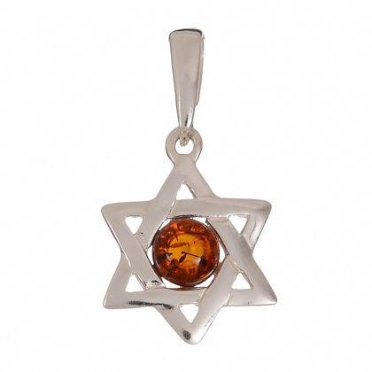 Baltic Amber Star of David Pendant