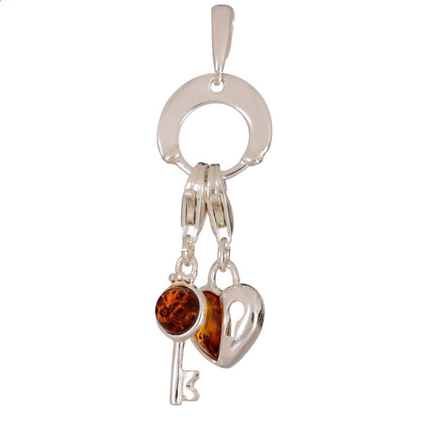 Baltic Amber Heart and Key Charm Pendant