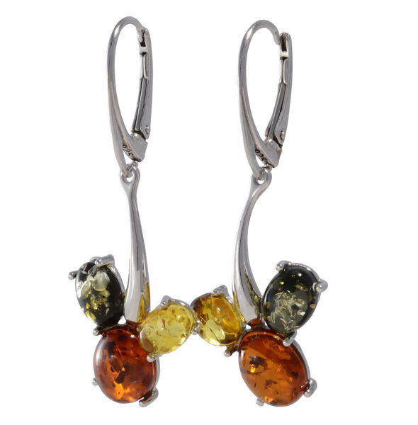 "Baltic Multicolored Amber Dangling Earrings ""Kayla"""