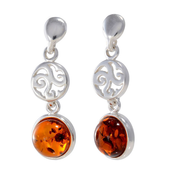 "Baltic Honey Amber Earrings ""Agatha"""