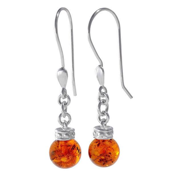 """Baltic Honey Amber Fish Hook Earrings """"Maya"""""""