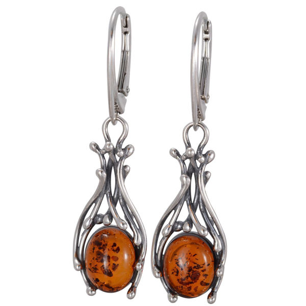 "Baltic Honey Amber Dangling Earrings ""Willow"""