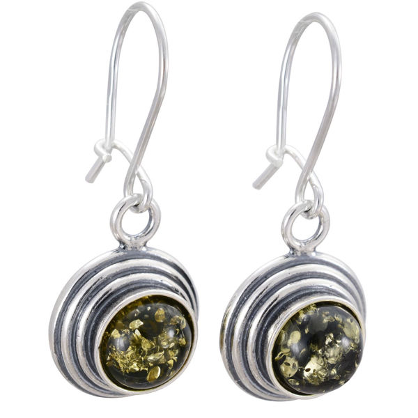 Baltic Green Round Amber Dangling Earrings