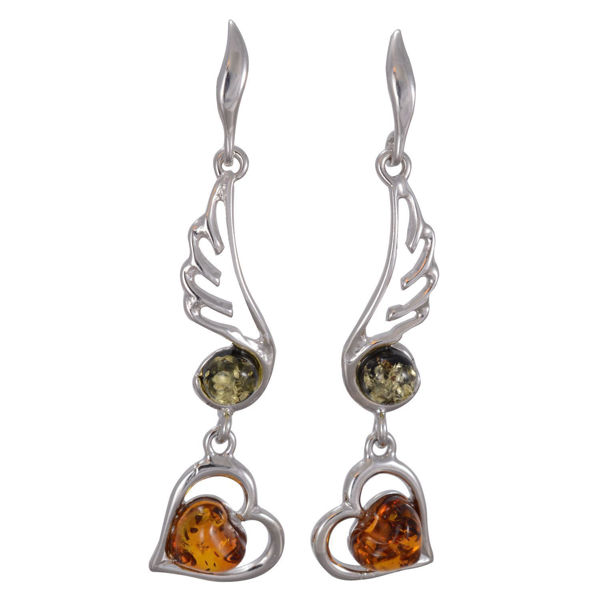 "Multicolored Amber Dangling Earrings ""Loving Hearts"""