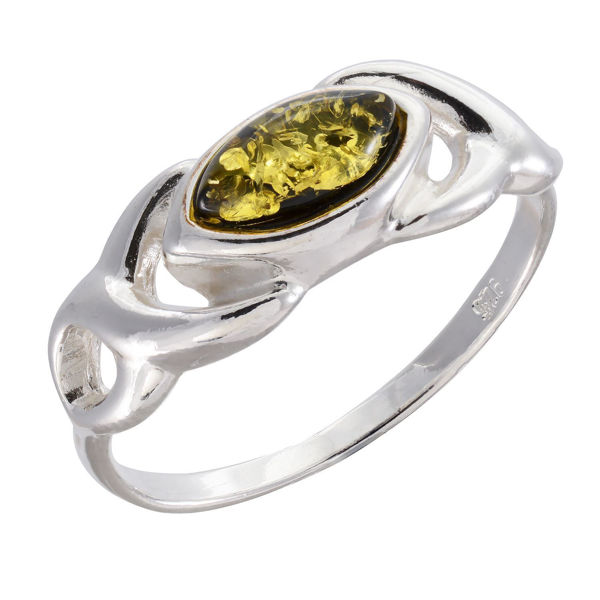 "Baltic Green Amber Ring ""Lucy"""