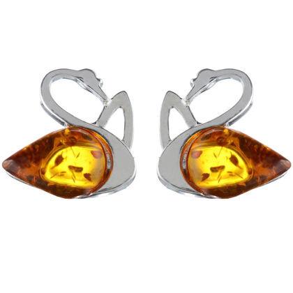 """Baltic Honey Amber Stud Earrings """"Swan"""""""