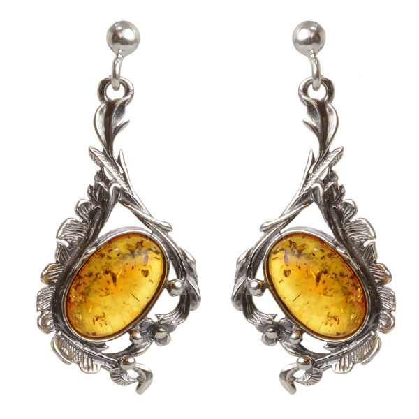 "Sterling Silver and Baltic Honey Amber Dangling Earrings ""Bianca"""