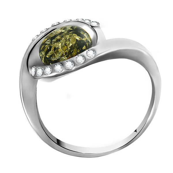 "Sterling Silver and Baltic Green Amber Ring ""Hazel"""