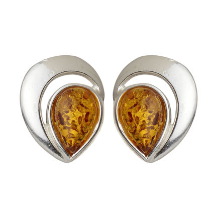 "Sterling Silver and Baltic Honey Amber Stud Earrings ""Elisa"""