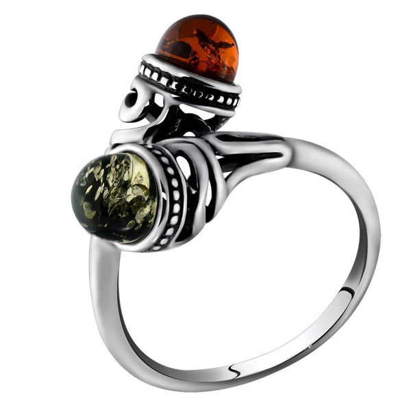 Sterling Silver and Baltic  Green and Honey  Amber Ring