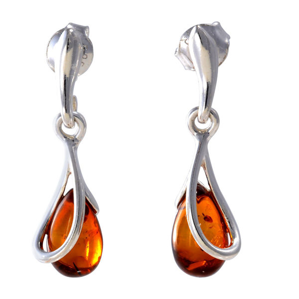 "Sterling Silver and Baltic Honey Amber Dangling Earrings ""Renata"""