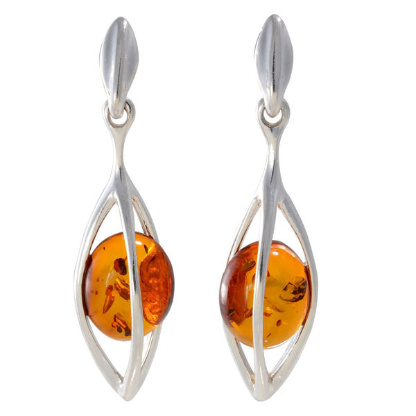 "Sterling Silver and Baltic Honey Amber Dangling Earrings ""Cindy"""