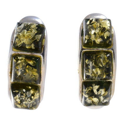 """Sterling Silver and Baltic Green Amber Earrings """"Mila"""""""