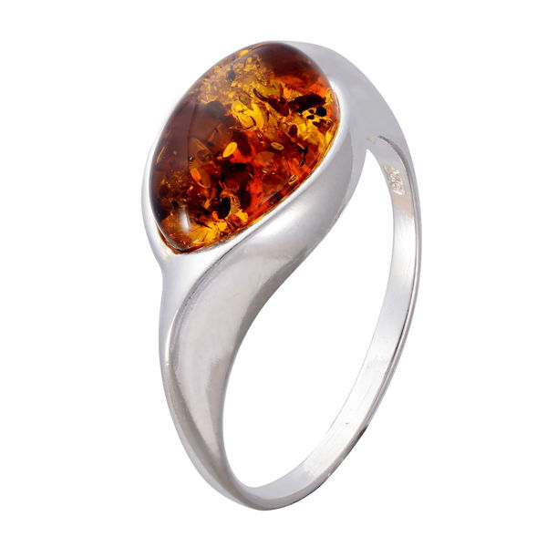 """Sterling Silver and Baltic Honey Amber Ring """"Donna"""""""