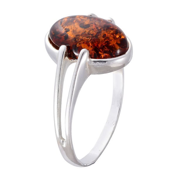 "Sterling Silver and Baltic Honey Amber Ring ""Federica"""
