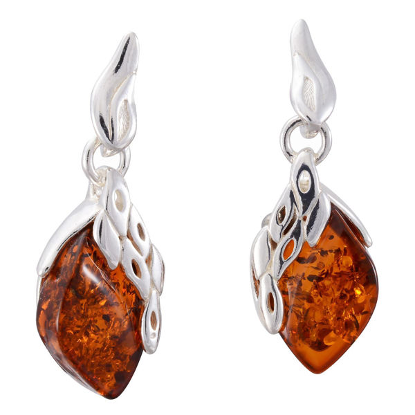 "Sterling Silver and Baltic Honey Amber Dangling Earrings ""Maryann"""