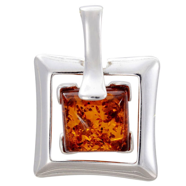 Sterling Silver and Baltic Honey Square Amber Pendant