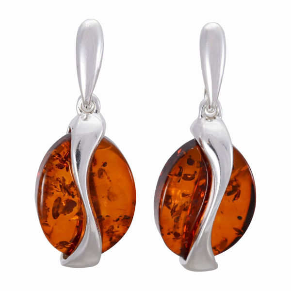 "Sterling Silver and Baltic Honey Amber Earrings ""Liliana"""