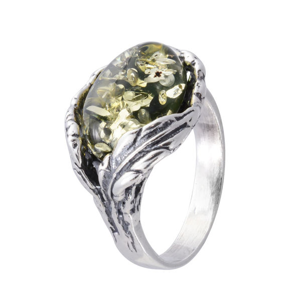 "Sterling Silver and Baltic Green Amber Ring ""Katharina"""
