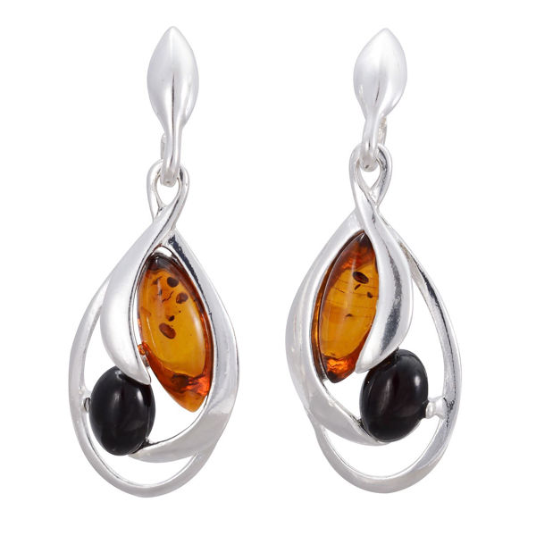 "Sterling Silver and Baltic Honey Amber Earrings ""Zoe"""