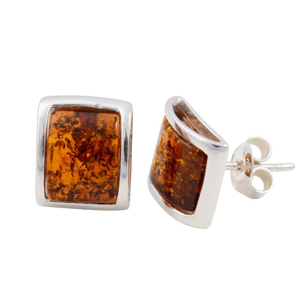 "Sterling Silver and Baltic Honey Amber Earrings ""Lottie"""