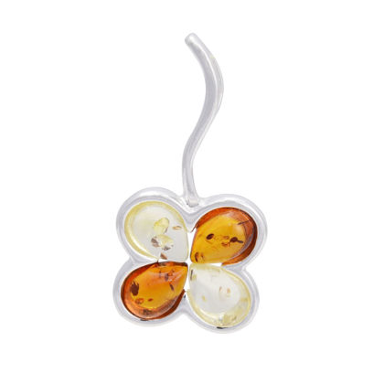 "Sterling Silver and Baltic Amber Pendant ""Clover"""