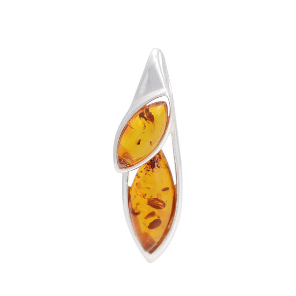 "Sterling Silver and Baltic Amber Pendant ""Aurora"""