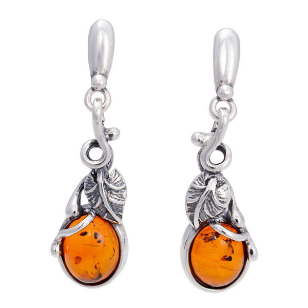 "Sterling Silver and Baltic Honey Amber Earrings ""August"""