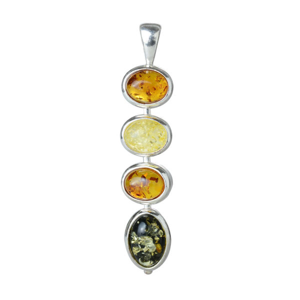 "Sterling Silver and Baltic Multicolored Amber Pendant ""Anna"""
