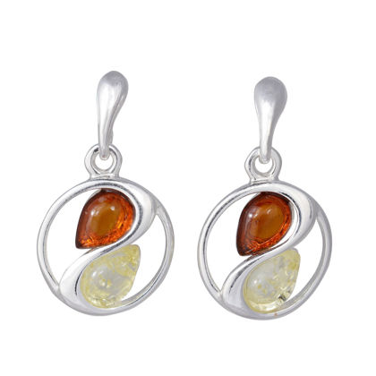 Sterling Silver Baltic Honey and Lemon Amber Earrings