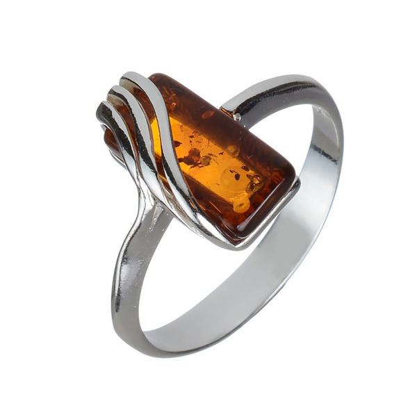 "Sterling Silver and Baltic Honey Amber Ring ""Ninelle"""