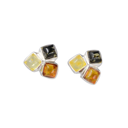 Sterling Silver and Baltic Multicolored Stud Amber Earrings