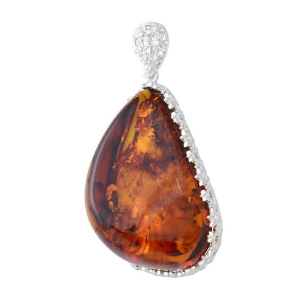 Sterling Silver and Baltic Hand Made Honey Amber Pendant