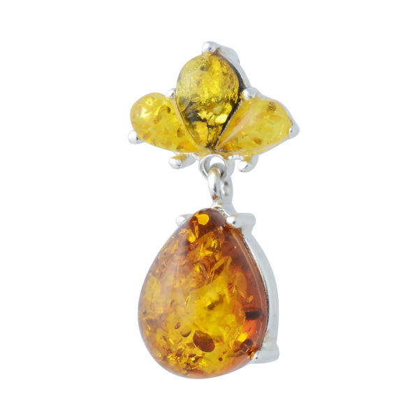 """Sterling Silver and Baltic Multi Colored Amber Pendant """"Droplet"""""""